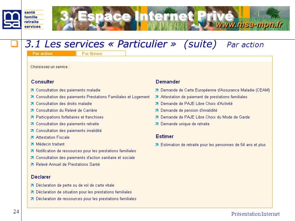 www.msa-mpn.fr Présentation Internet 24 s services « Particulier 3.1 Les services « Particulier » (suite) Par action 3. Espace Internet Privé