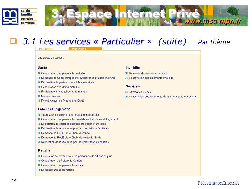 www.msa-mpn.fr Présentation Internet 25 s services « Particulier 3.1 Les services « Particulier » (suite) Par thème 3. Espace Internet Privé