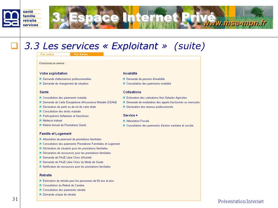 www.msa-mpn.fr Présentation Internet 31 es services « Exploitant 3.3 Les services « Exploitant » (suite) 3. Espace Internet Privé