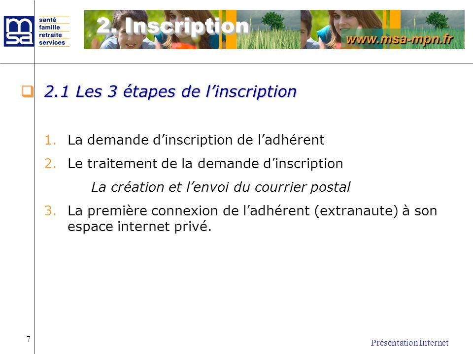 www.msa-mpn.fr Présentation Internet 7 2.1 Les 3 étapes de linscription 2.1 Les 3 étapes de linscription 1.La demande dinscription de ladhérent 2.Le t