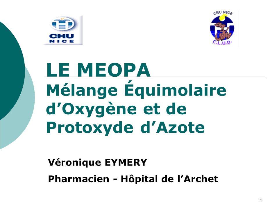 2 I.PRESENTATION du PRODUIT oLe MEOPA = Gaz pour inhalation O2N2O 50 % Oxygène +50 % Protoxyde dAzote (Air contient seulement 21 % dO2) oMédicament – Liste I oKALINOX ® Air Liquide Santé