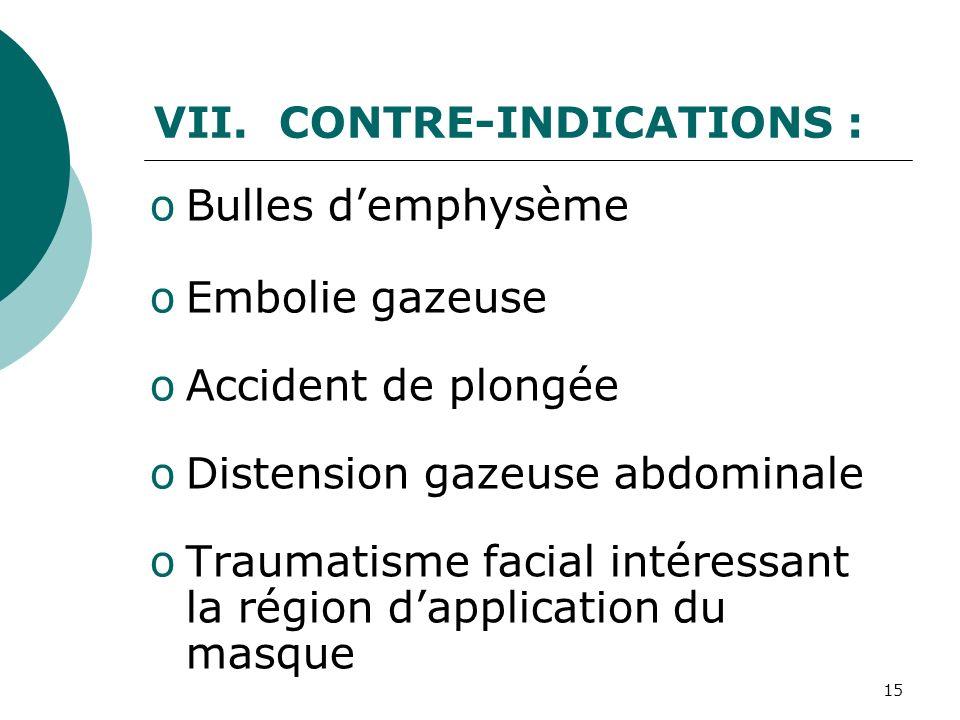 15 VII. CONTRE-INDICATIONS : oBulles demphysème oEmbolie gazeuse oAccident de plongée oDistension gazeuse abdominale oTraumatisme facial intéressant l