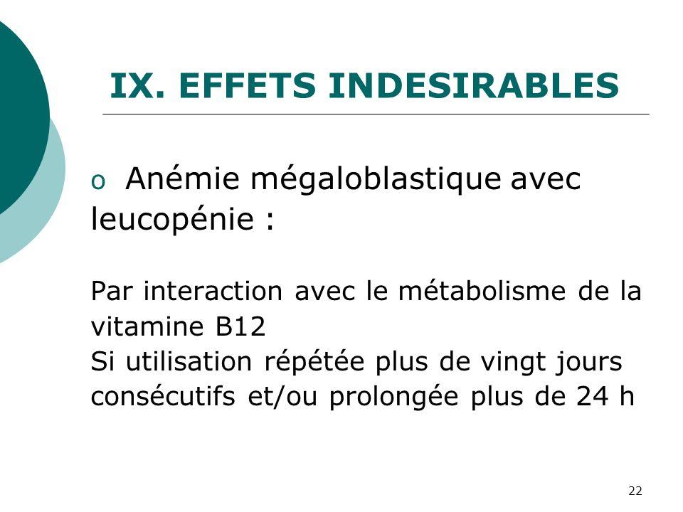 22 IX.EFFETS INDESIRABLES o Anémie mégaloblastique avec leucopénie : Par interaction avec le métabolisme de la vitamine B12 Si utilisation répétée plu
