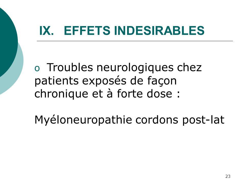 23 o Troubles neurologiques chez patients exposés de façon chronique et à forte dose : Myéloneuropathie cordons post-lat IX.EFFETS INDESIRABLES