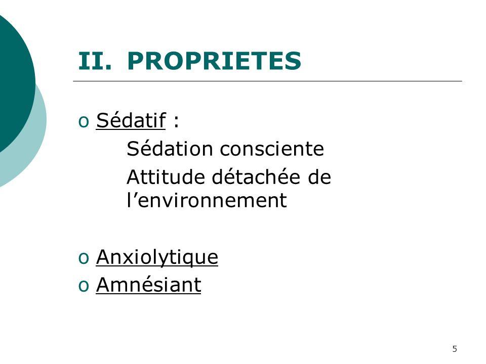 5 oSédatif : Sédation consciente Attitude détachée de lenvironnement oAnxiolytique oAmnésiant