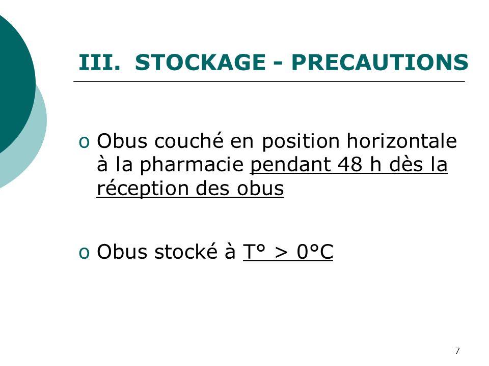 7 III. STOCKAGE - PRECAUTIONS oObus couché en position horizontale à la pharmacie pendant 48 h dès la réception des obus oObus stocké à T° > 0°C