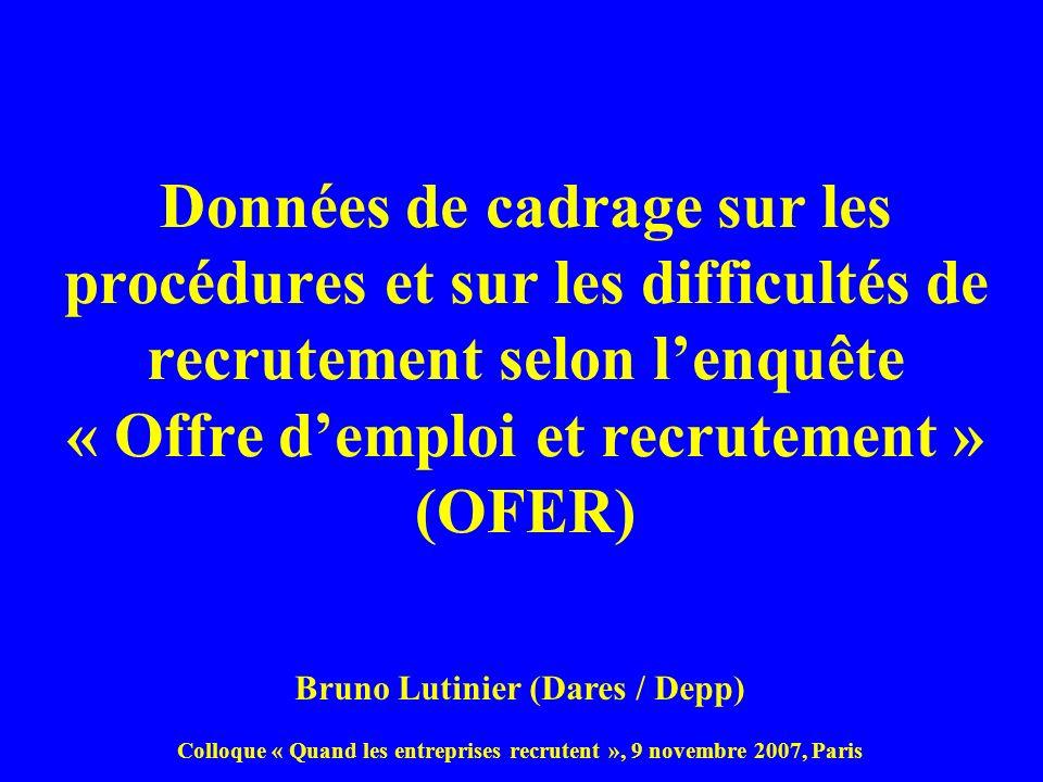 Données de cadrage sur les procédures et sur les difficultés de recrutement selon lenquête « Offre demploi et recrutement » (OFER) Bruno Lutinier (Dar
