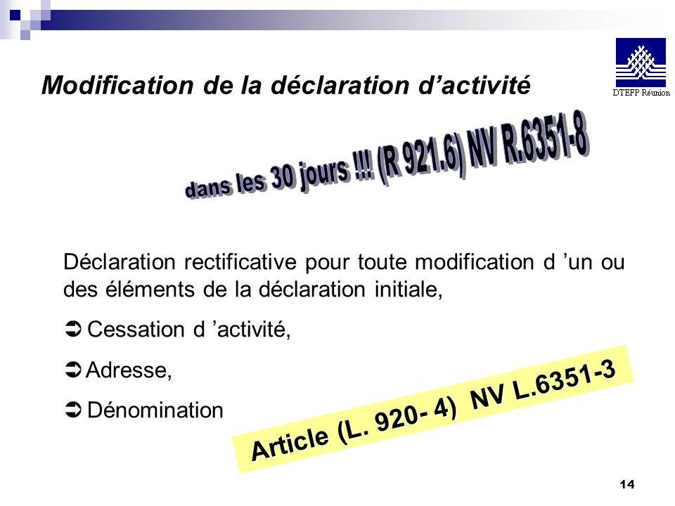 14 Modification de la déclaration dactivité Déclaration rectificative pour toute modification d un ou des éléments de la déclaration initiale, Ü Cessa