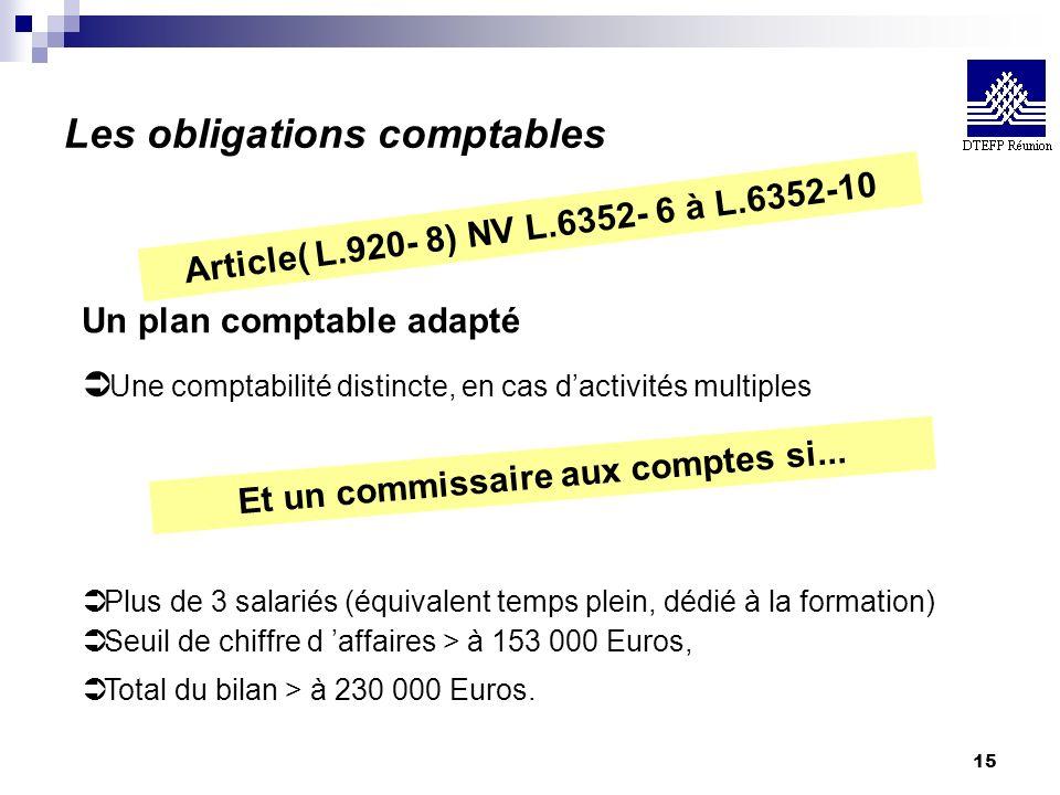 15 Les obligations comptables Article( L.920- 8) NV L.6352- 6 à L.6352-10 Un plan comptable adapté Ü Une comptabilité distincte, en cas dactivités mul