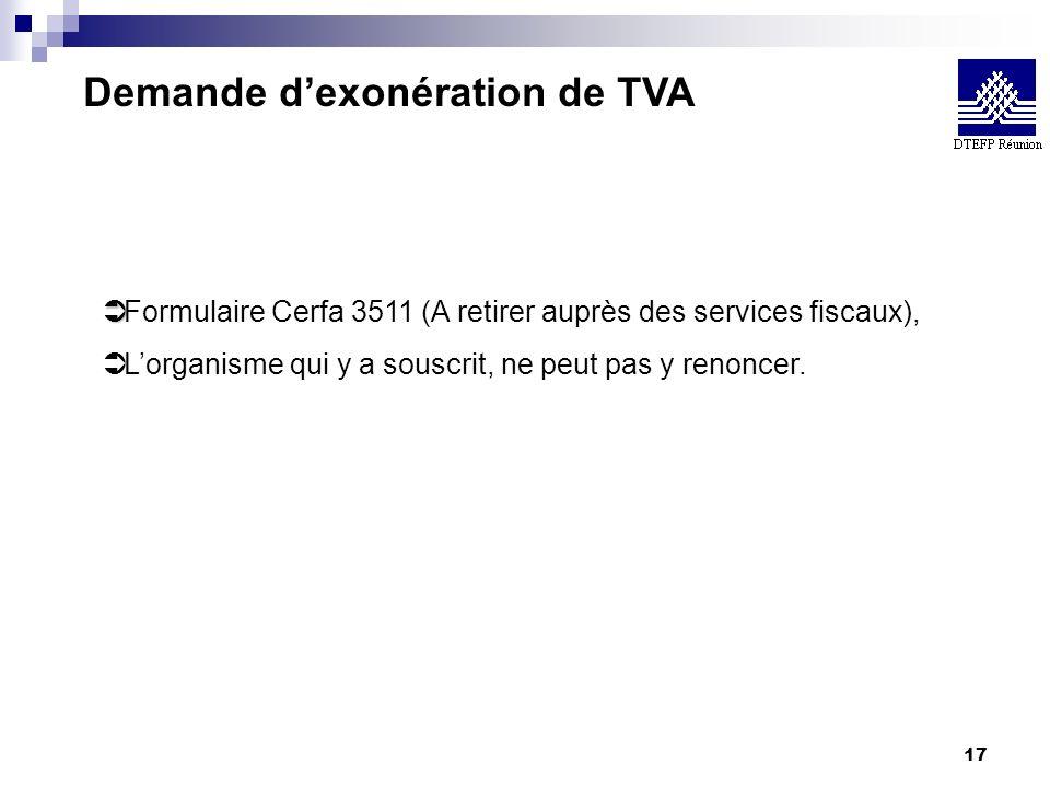17 Demande dexonération de TVA Ü Ü Formulaire Cerfa 3511 (A retirer auprès des services fiscaux), Ü Lorganisme qui y a souscrit, ne peut pas y renonce