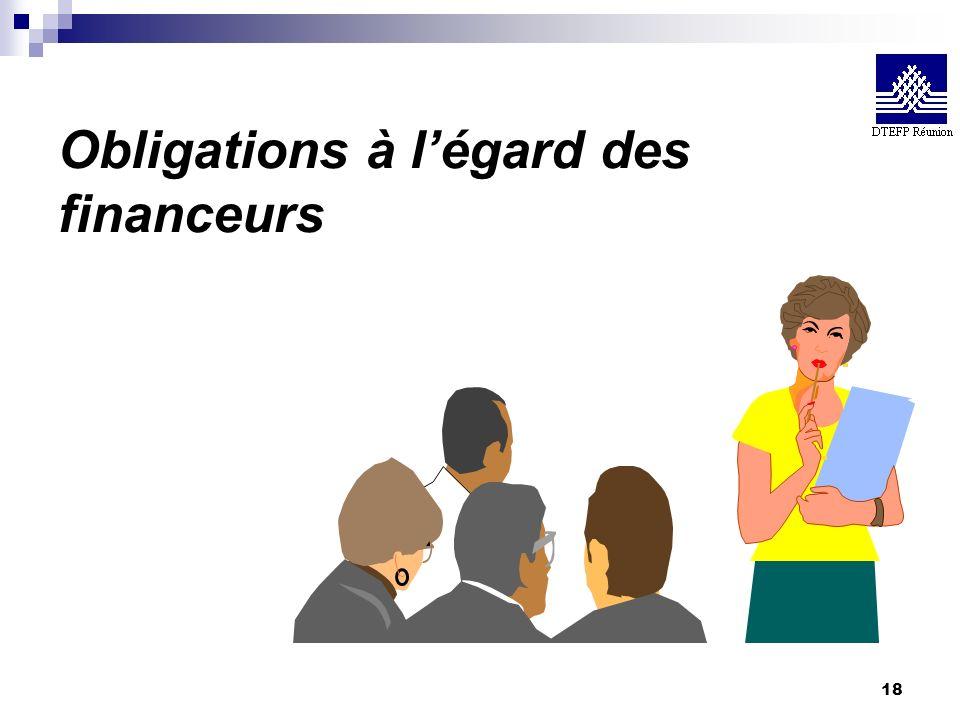 18 Obligations à légard des financeurs