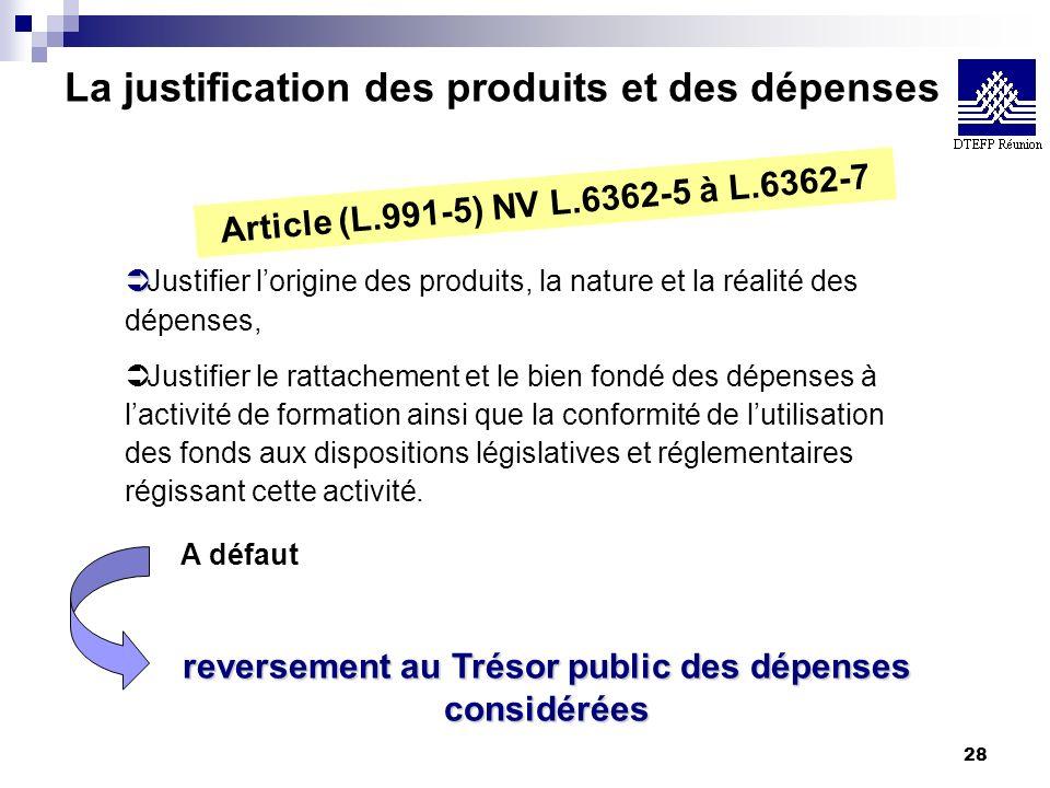 28 La justification des produits et des dépenses Article (L.991-5) NV L.6362-5 à L.6362-7 Ü Ü Justifier lorigine des produits, la nature et la réalité