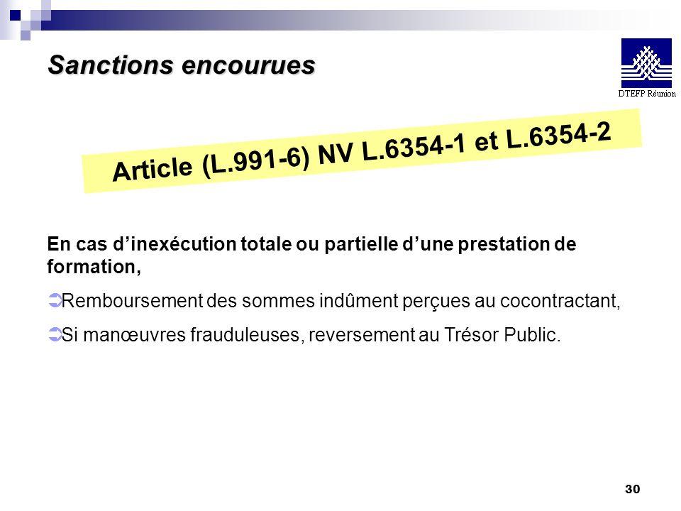 30 Sanctions encourues Article (L.991-6) NV L.6354-1 et L.6354-2 En cas dinexécution totale ou partielle dune prestation de formation, Ü Remboursement