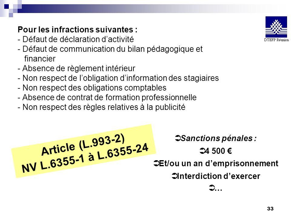 33 Pour les infractions suivantes : - Défaut de déclaration dactivité - Défaut de communication du bilan pédagogique et financier - Absence de règleme