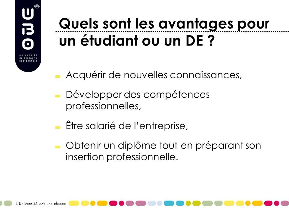 Quels sont les avantages pour un étudiant ou un DE ? Acquérir de nouvelles connaissances, Développer des compétences professionnelles, Être salarié de