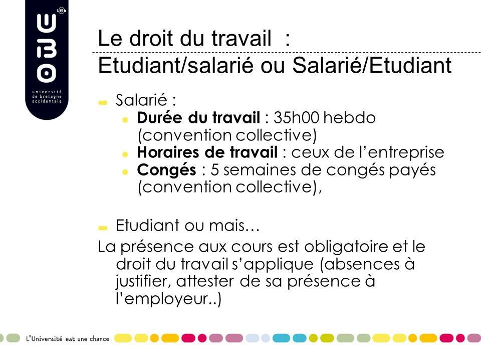 Le droit du travail : Etudiant/salarié ou Salarié/Etudiant Salarié : Durée du travail : 35h00 hebdo (convention collective) Horaires de travail : ceux