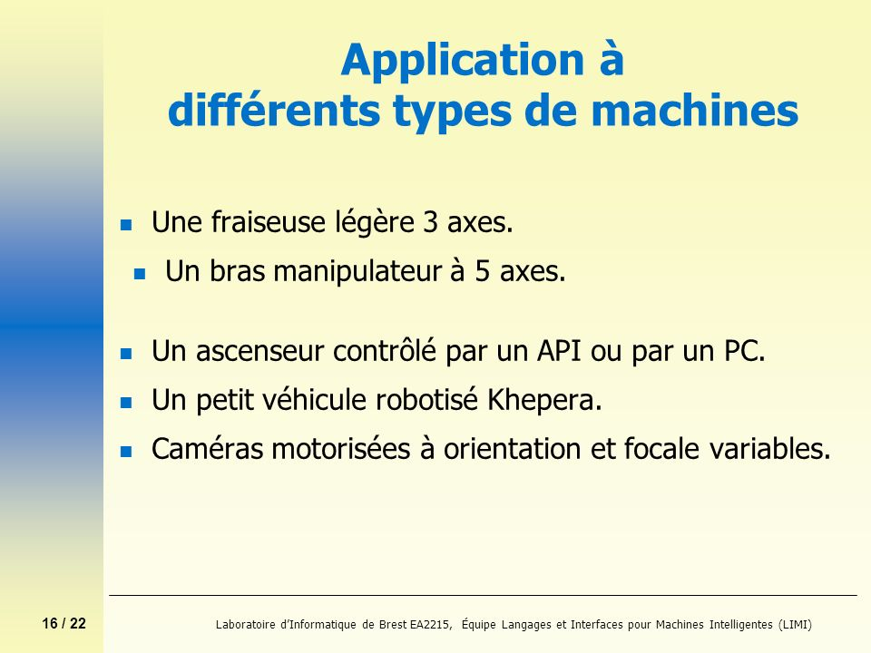 16 / 22 Laboratoire dInformatique de Brest EA2215, Équipe Langages et Interfaces pour Machines Intelligentes (LIMI) Application à différents types de