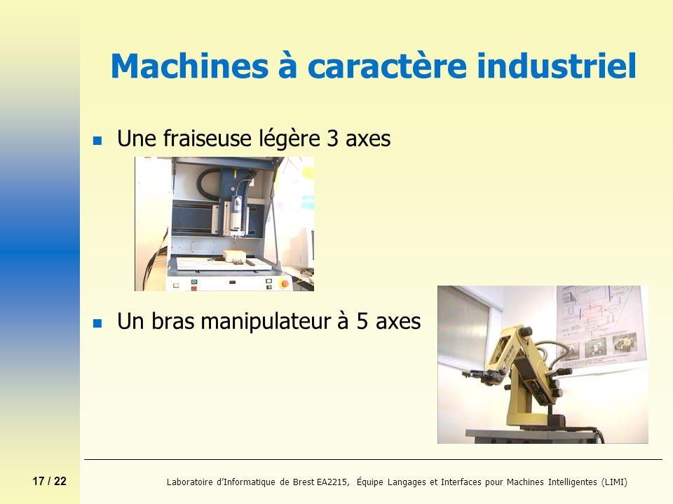 17 / 22 Laboratoire dInformatique de Brest EA2215, Équipe Langages et Interfaces pour Machines Intelligentes (LIMI) Machines à caractère industriel n