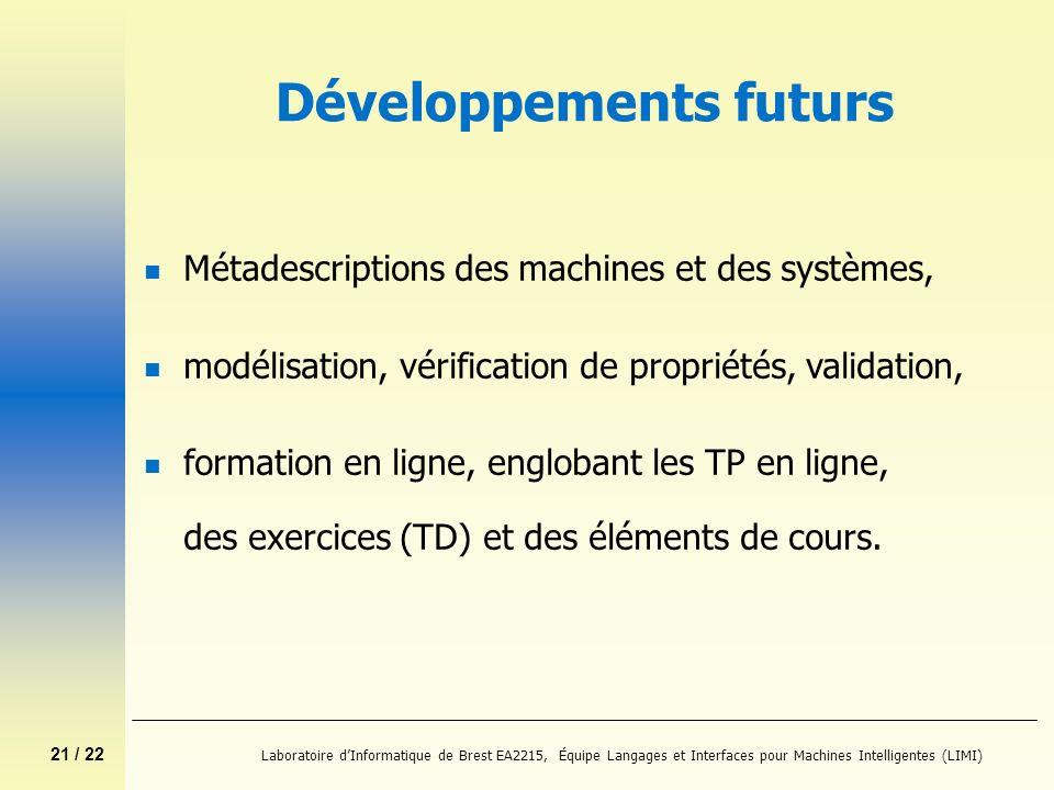 21 / 22 Laboratoire dInformatique de Brest EA2215, Équipe Langages et Interfaces pour Machines Intelligentes (LIMI) Développements futurs n Métadescri