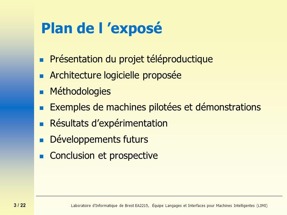 3 / 22 Laboratoire dInformatique de Brest EA2215, Équipe Langages et Interfaces pour Machines Intelligentes (LIMI) Plan de l exposé n Présentation du