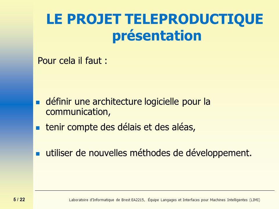 6 / 22 Laboratoire dInformatique de Brest EA2215, Équipe Langages et Interfaces pour Machines Intelligentes (LIMI) Partenaires du projet téléproductique n Groupe Systèmes de Communication Industriels et Action spécifique 01 du CNRS http://www.rli.cran.u-nancy.fr/sci/sci.shtml http://www.rli.cran.u-nancy.fr/sci/sci.shtml n Groupe Téléproductique Bretagne http://doelan-gw.univ-brest.fr:8080/teleproductique/teleprod.html http://doelan-gw.univ-brest.fr:8080/teleproductique/teleprod.html n Océanopolis http://www.oceanopolis.com/ http://www.oceanopolis.com/ n IRVI-Progénéris http://www.irvi-soft.com/ http://www.irvi-soft.com/ n FHOOW http://www.et-inf.fho-emden.de/Angebot/Medientechnik.html http://www.et-inf.fho-emden.de/Angebot/Medientechnik.html