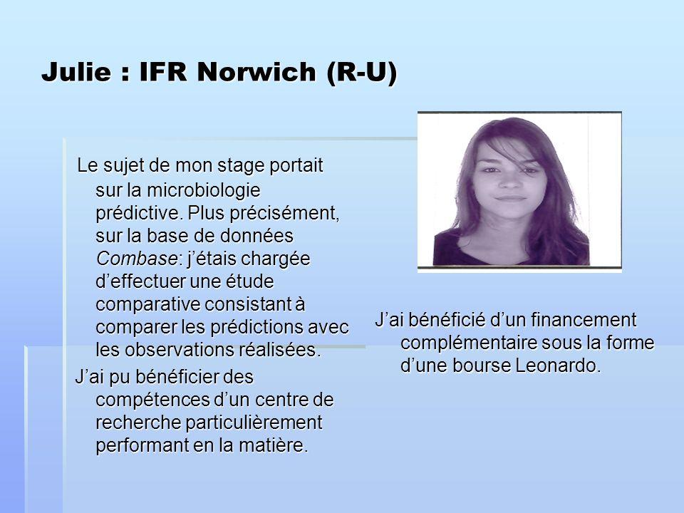Julie : IFR Norwich (R-U) Le sujet de mon stage portait sur la microbiologie prédictive.