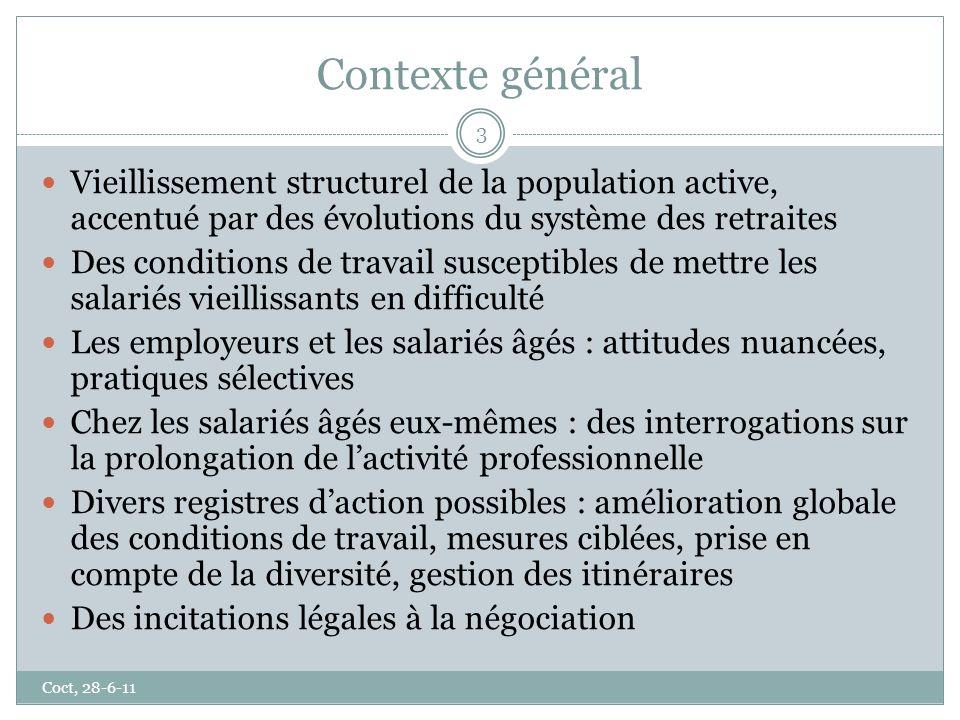 Contexte général Coct, 28-6-11 3 Vieillissement structurel de la population active, accentué par des évolutions du système des retraites Des condition