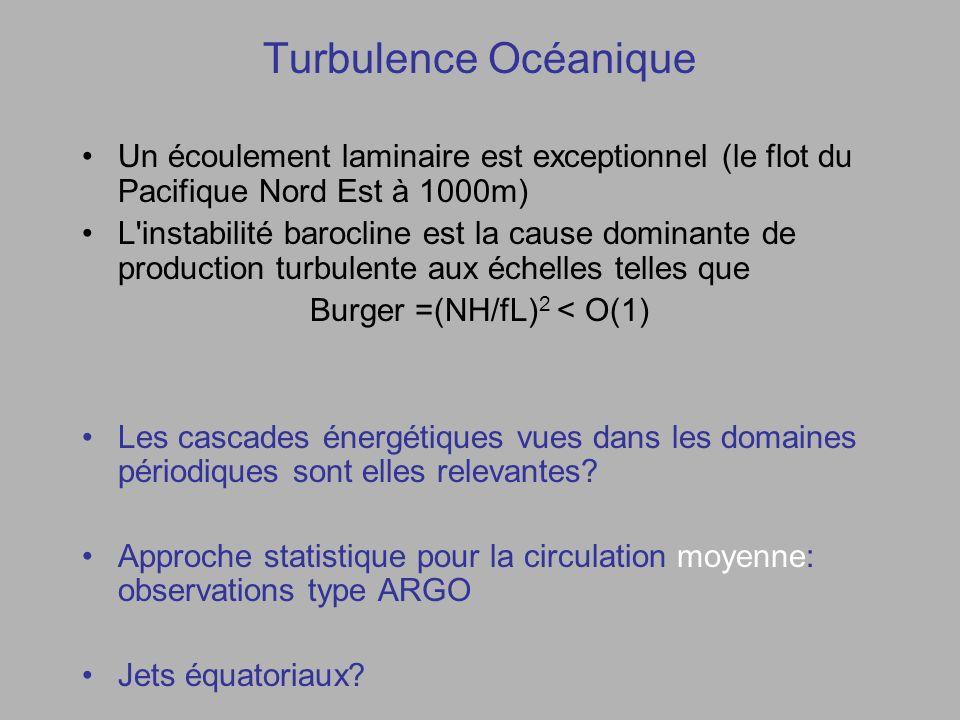 Turbulence Océanique Un écoulement laminaire est exceptionnel (le flot du Pacifique Nord Est à 1000m) L instabilité barocline est la cause dominante de production turbulente aux échelles telles que Burger =(NH/fL) 2 < O(1) Les cascades énergétiques vues dans les domaines périodiques sont elles relevantes.