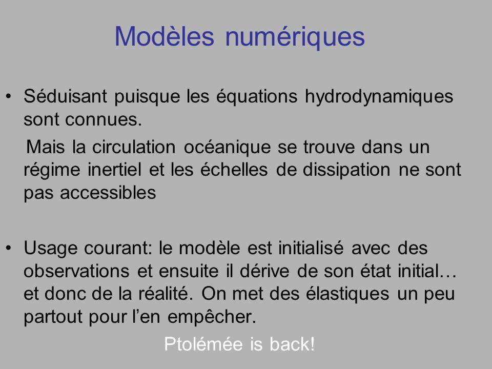 Modèles numériques Séduisant puisque les équations hydrodynamiques sont connues.