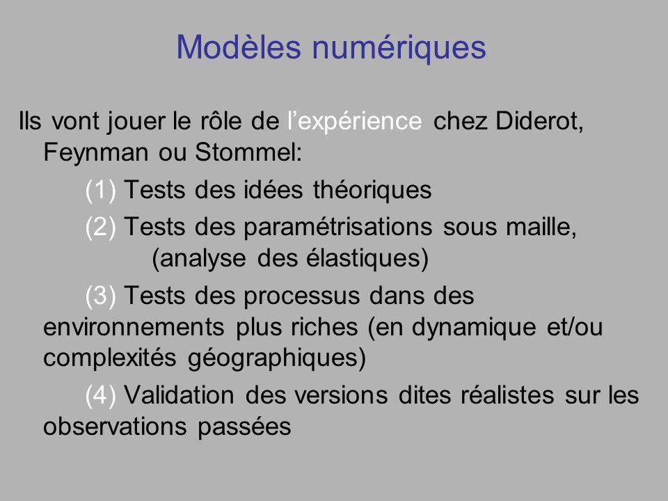 Modèles numériques Ils vont jouer le rôle de lexpérience chez Diderot, Feynman ou Stommel: (1) Tests des idées théoriques (2) Tests des paramétrisations sous maille, (analyse des élastiques) (3) Tests des processus dans des environnements plus riches (en dynamique et/ou complexités géographiques) (4) Validation des versions dites réalistes sur les observations passées