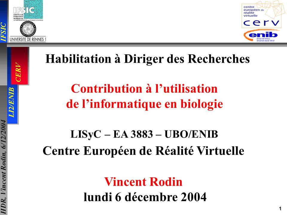 42 IFSIC LI2/ENIB CERV HDR, Vincent Rodin, 6/12/2004 Activités liées à la recherche -- responsabilités -- responsable du projet in virtuo du CERV: 2 PU, 2 MCU, 5 thésards, 1 ingénieur Laboratoire dhémostase virtuelle, 2005 membre élu à commission de spécialistes de lEcole Nationale dIngénieurs de Brest Depuis 2002, Depuis 1998, GIS, 2004 : Biologie intégrée et modélisation des systèmes complexes en oncologie