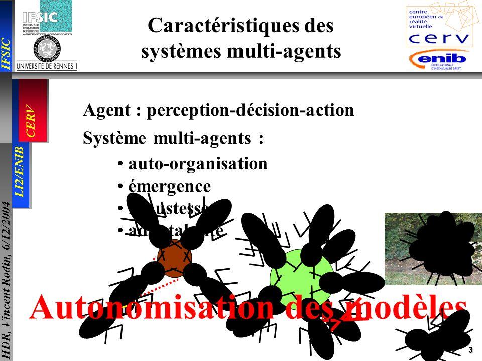 3 IFSIC LI2/ENIB CERV HDR, Vincent Rodin, 6/12/2004 Agent : perception-décision-action Système multi-agents : auto-organisation robustesse adaptabilit