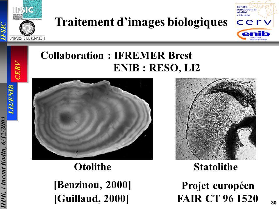 30 IFSIC LI2/ENIB CERV HDR, Vincent Rodin, 6/12/2004 Traitement dimages biologiques Collaboration : IFREMER Brest ENIB : RESO, LI2 Projet européen FAI