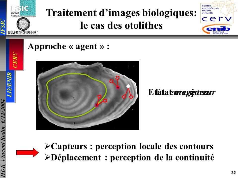 32 IFSIC LI2/ENIB CERV HDR, Vincent Rodin, 6/12/2004 Traitement dimages biologiques: le cas des otolithes Approche « agent » : Etat marqueur Etat enre