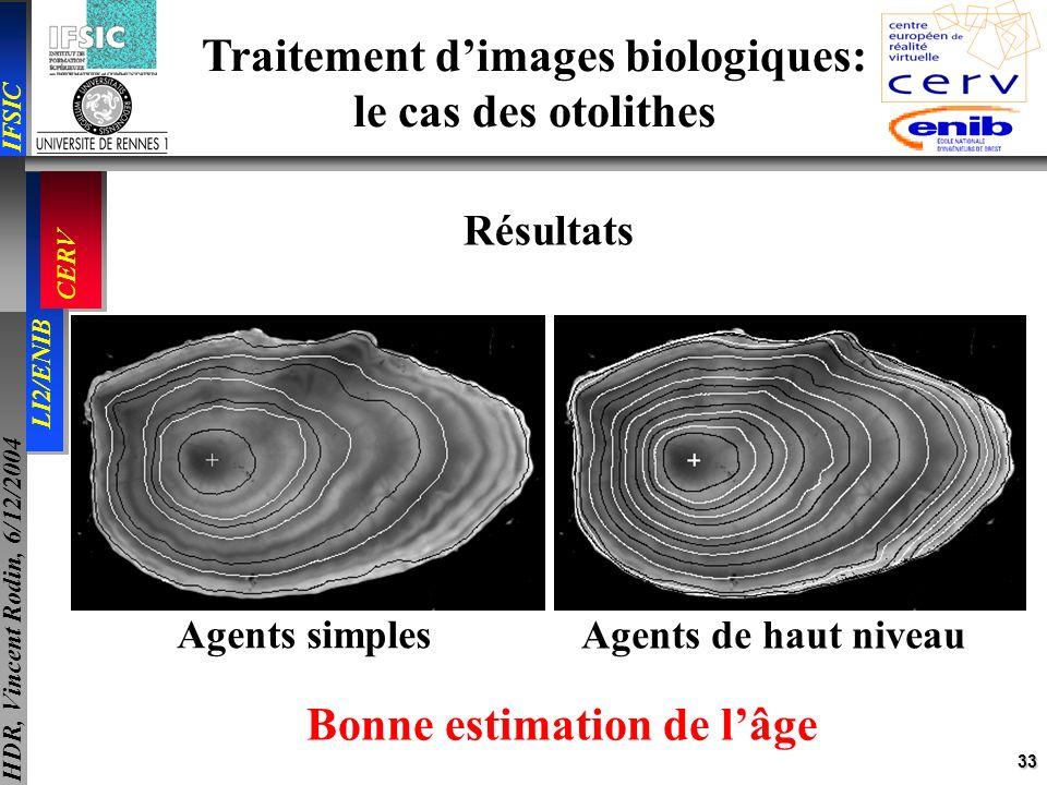 33 IFSIC LI2/ENIB CERV HDR, Vincent Rodin, 6/12/2004 Traitement dimages biologiques: le cas des otolithes Résultats Agents simples Agents de haut nive