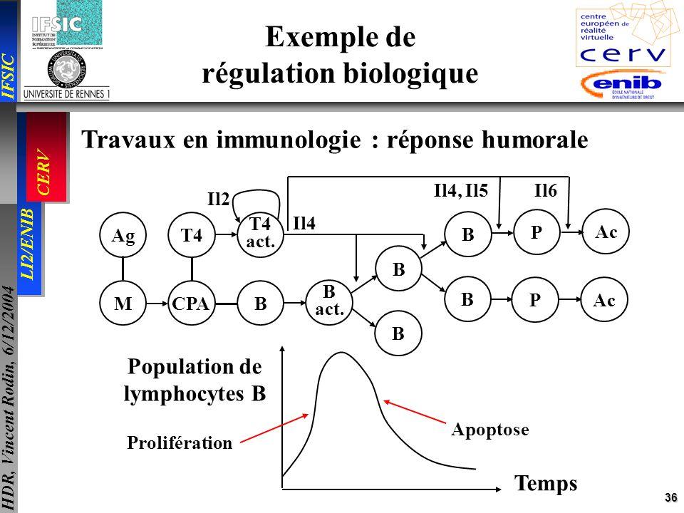 36 IFSIC LI2/ENIB CERV HDR, Vincent Rodin, 6/12/2004 Exemple de régulation biologique Travaux en immunologie : réponse humorale Temps Population de ly