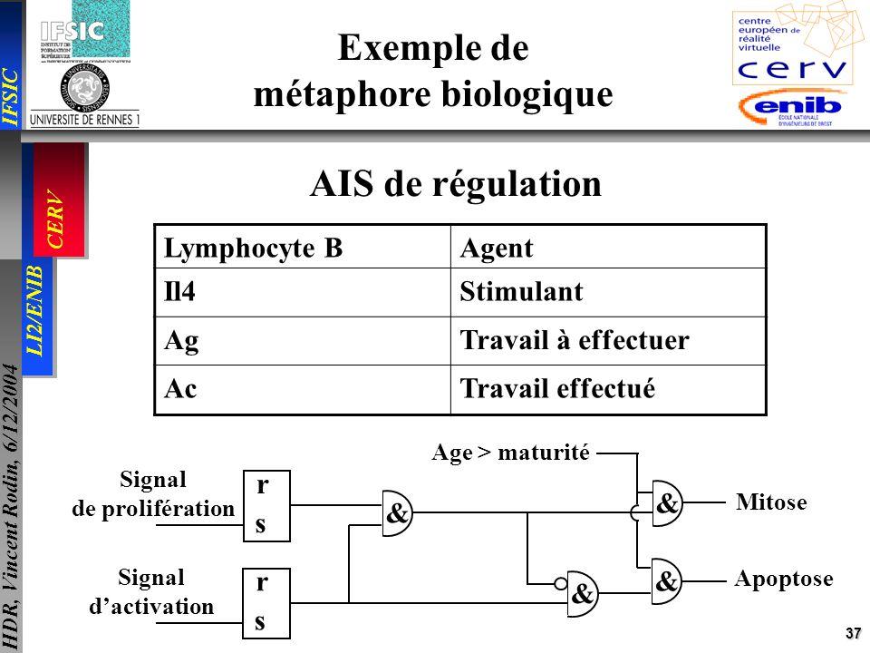 37 IFSIC LI2/ENIB CERV HDR, Vincent Rodin, 6/12/2004 Exemple de métaphore biologique Lymphocyte BAgent Il4Stimulant AgTravail à effectuer AcTravail ef