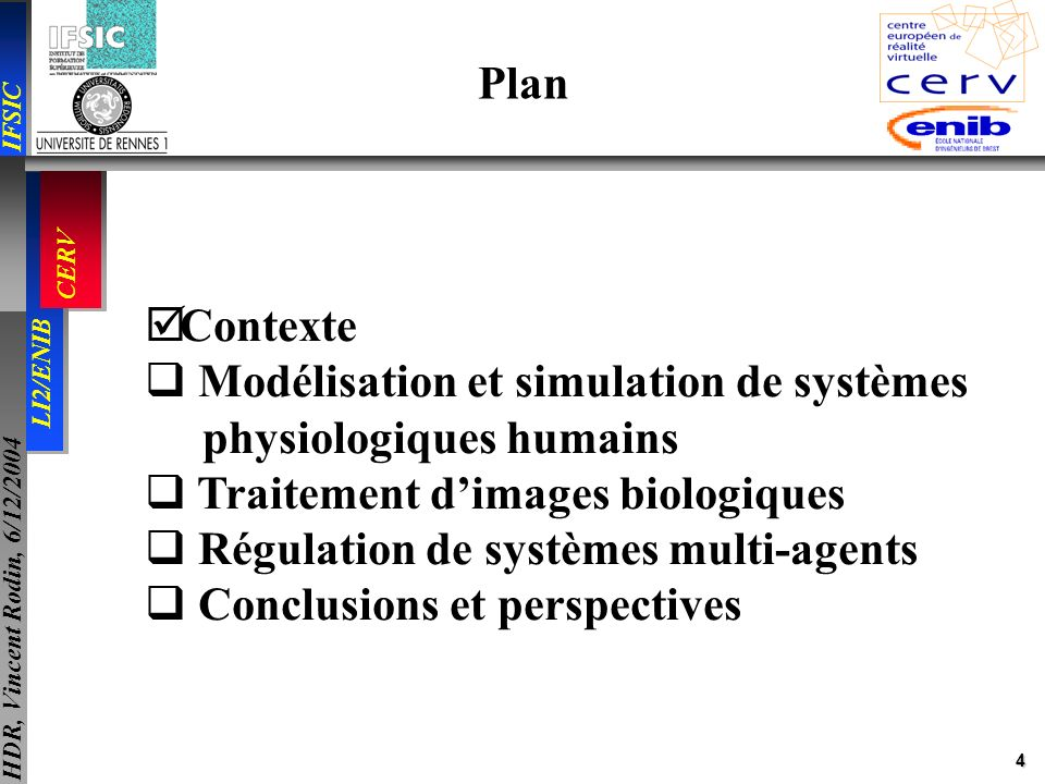 4 IFSIC LI2/ENIB CERV HDR, Vincent Rodin, 6/12/2004 Plan Contexte Modélisation et simulation de systèmes physiologiques humains Traitement dimages bio