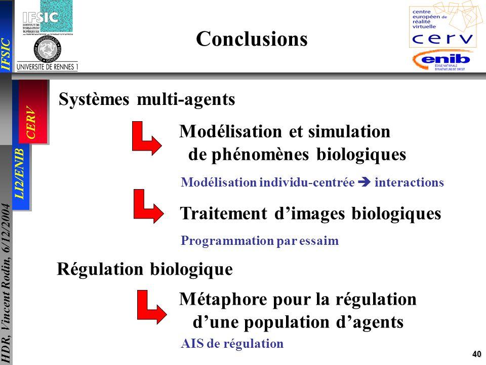 40 IFSIC LI2/ENIB CERV HDR, Vincent Rodin, 6/12/2004 Conclusions Systèmes multi-agents Modélisation et simulation de phénomènes biologiques Traitement