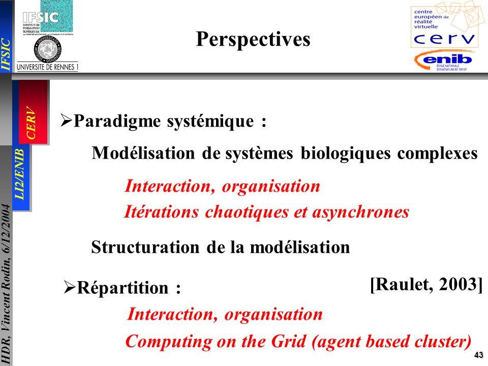 43 IFSIC LI2/ENIB CERV HDR, Vincent Rodin, 6/12/2004 Perspectives Paradigme systémique : Modélisation de systèmes biologiques complexes Interaction, o