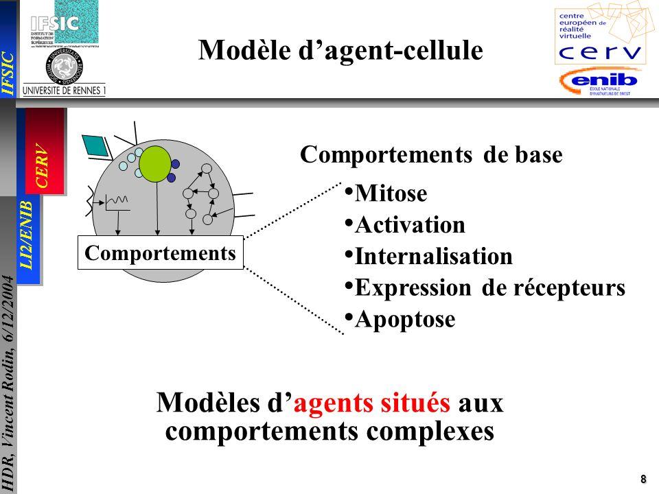 8 IFSIC LI2/ENIB CERV HDR, Vincent Rodin, 6/12/2004 Modèle dagent-cellule Comportements Mitose Activation Internalisation Expression de récepteurs Apo