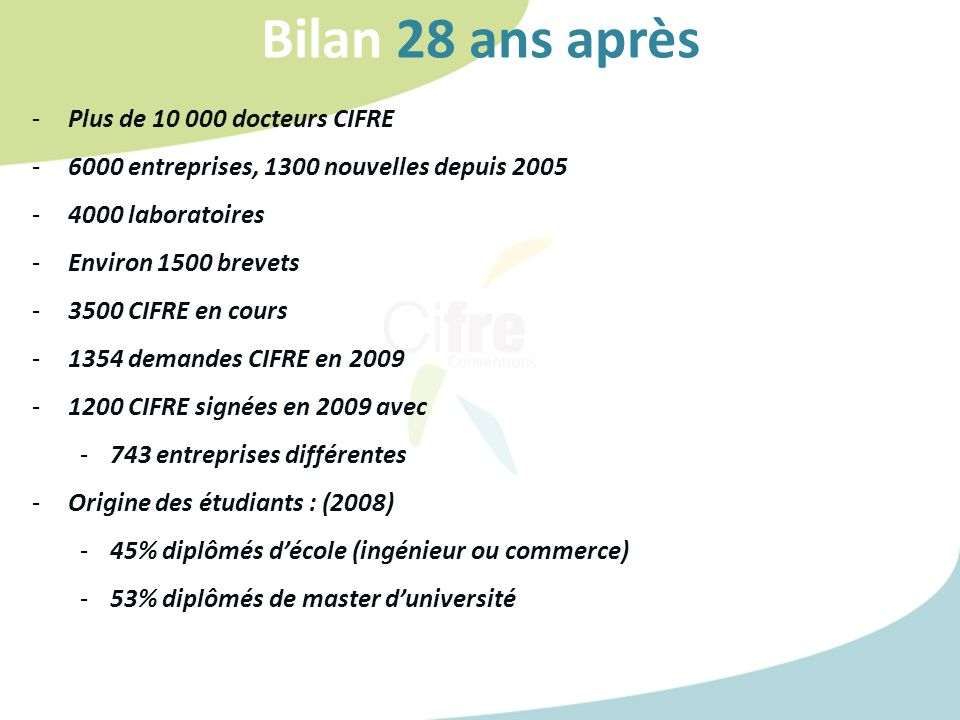 Bilan 28 ans après -Plus de 10 000 docteurs CIFRE -6000 entreprises, 1300 nouvelles depuis 2005 -4000 laboratoires -Environ 1500 brevets -3500 CIFRE e
