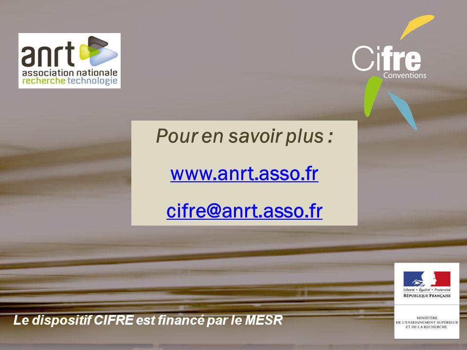 Pour en savoir plus : www.anrt.asso.fr cifre@anrt.asso.fr Le dispositif CIFRE est financé par le MESR
