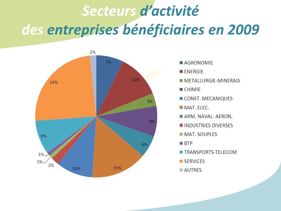 Secteurs dactivité des entreprises bénéficiaires en 2009