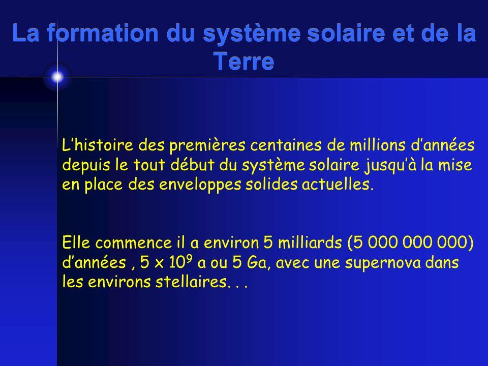 Lhistoire des premières centaines de millions dannées depuis le tout début du système solaire jusquà la mise en place des enveloppes solides actuelles