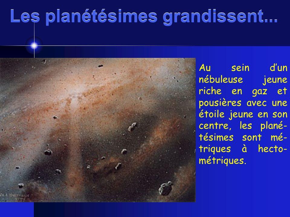 Au sein dun nébuleuse jeune riche en gaz et pousières avec une étoile jeune en son centre, les plané- tésimes sont mé- triques à hecto- métriques. Les