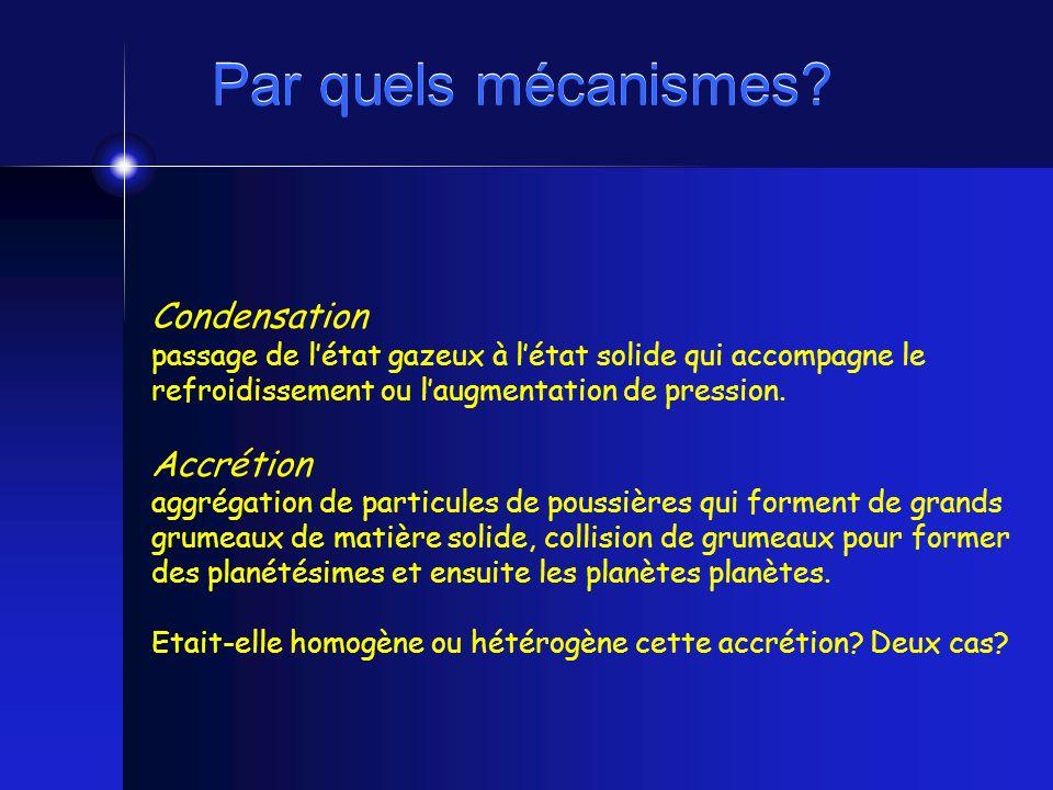 Par quels mécanismes? Condensation passage de létat gazeux à létat solide qui accompagne le refroidissement ou laugmentation de pression. Accrétion ag