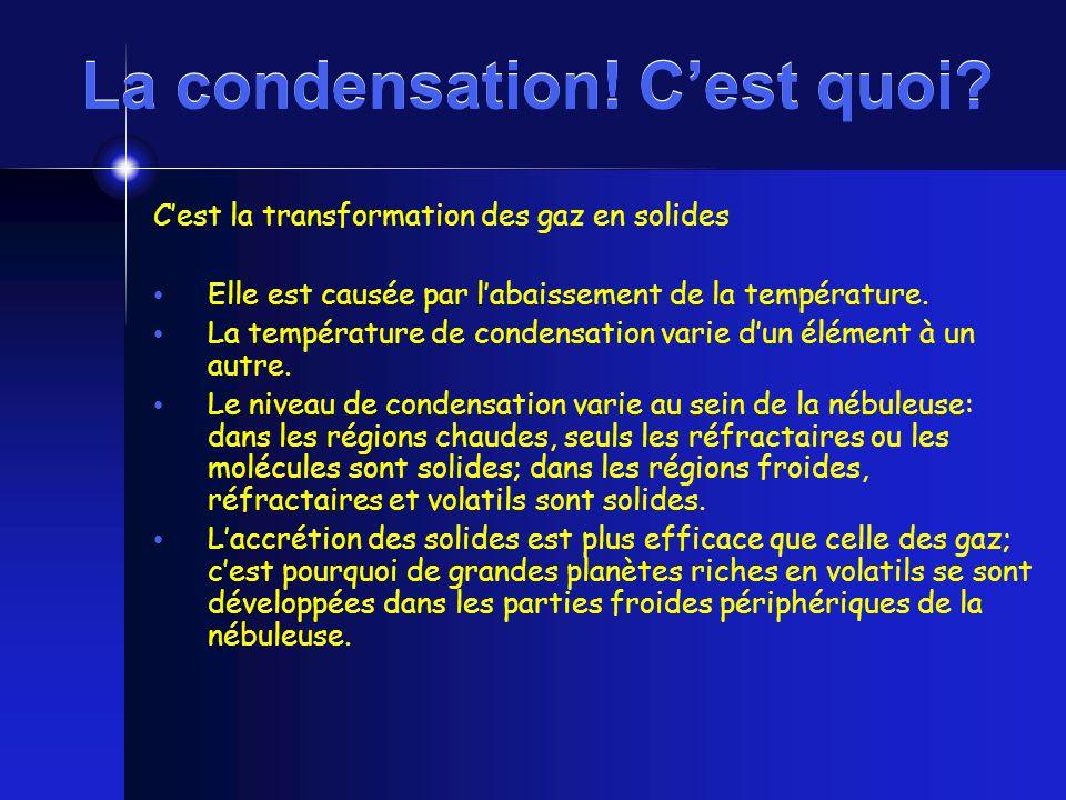 La condensation! Cest quoi? Cest la transformation des gaz en solides Elle est causée par labaissement de la température. La température de condensati
