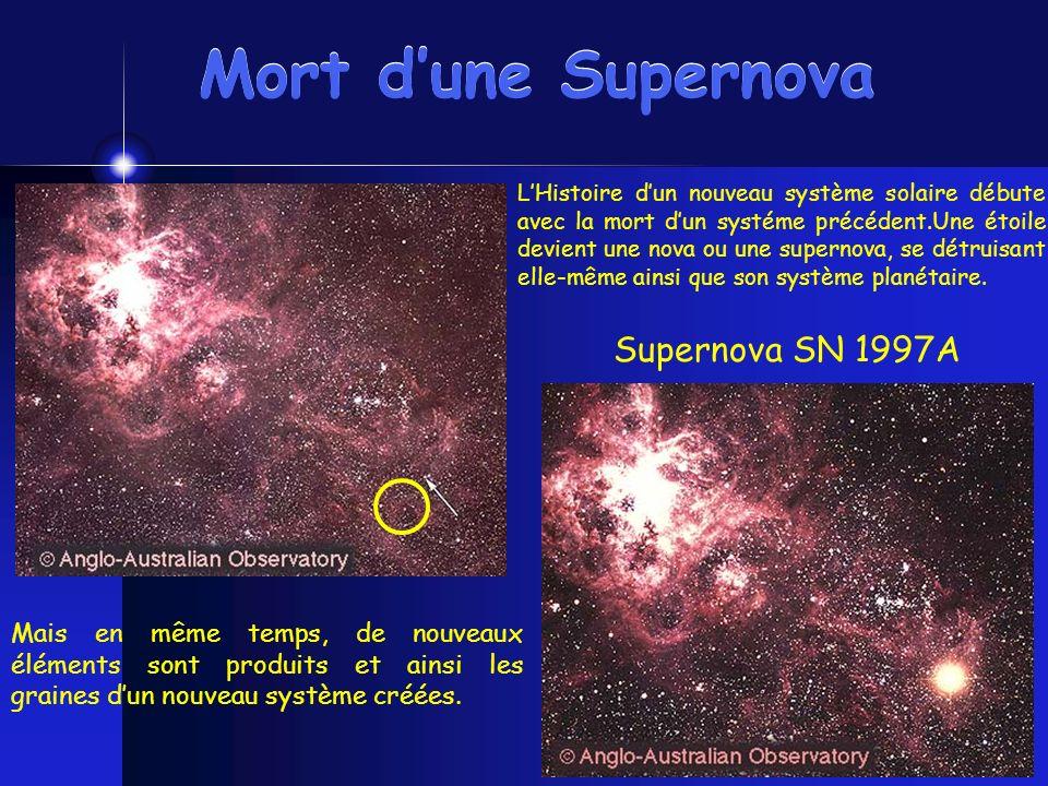 Mort dune Supernova Supernova SN 1997A LHistoire dun nouveau système solaire débute avec la mort dun systéme précédent.Une étoile devient une nova ou