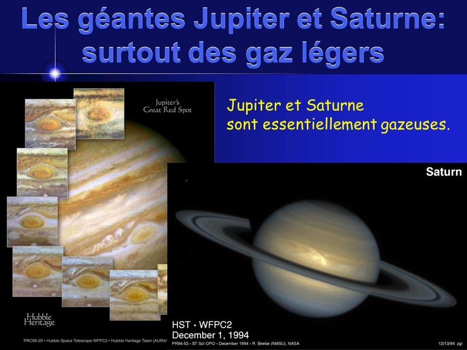 Les géantes Jupiter et Saturne: surtout des gaz légers http://oposite.stsci.edu/pubinfo/gif/SatStorm.gifhttp://oposite.stsci.edu/pubinfo/pr/1999/29/in